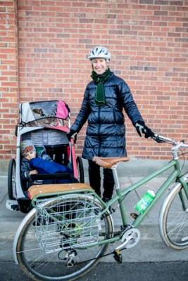 Hannah Nordhaus and her son, Milo, bundled up for Bike to Work Day 2014.