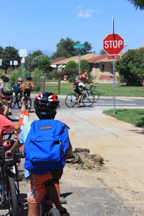 Students Ride to School in Denver as part of a parent-led Bicycle Train