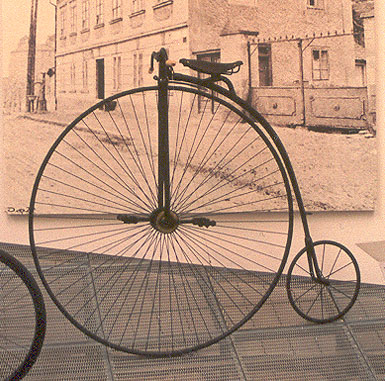 "An ""Ordinary Bicycle"" as they were sometimes called; they were also known as the Penny-Farthing."
