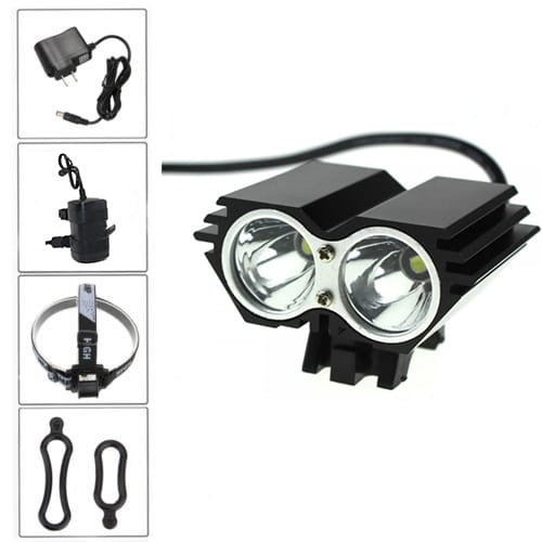 2400 Lumens Twin Full Set Bicycle Headlight includes 6400mAh ABS Battery