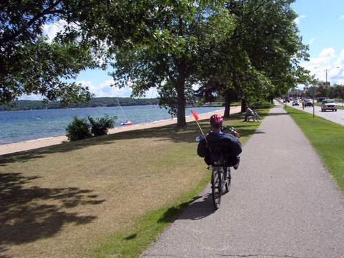 Brad's recumbent on the TART Trail in downtown Traverse City.