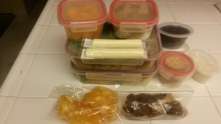 After the work is done, I have my day's meals prepared: lunch, dinner and snacks.