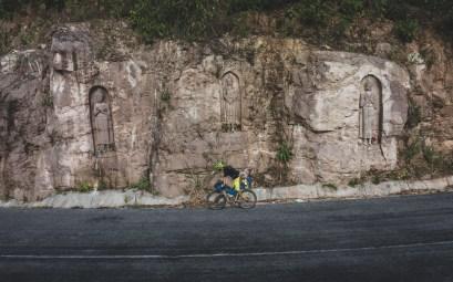 Jakub and Buddhas Carvings on the way to Lak Sao