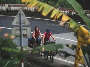 Dasha and Anne Helen on a climb to Hai Van Pass