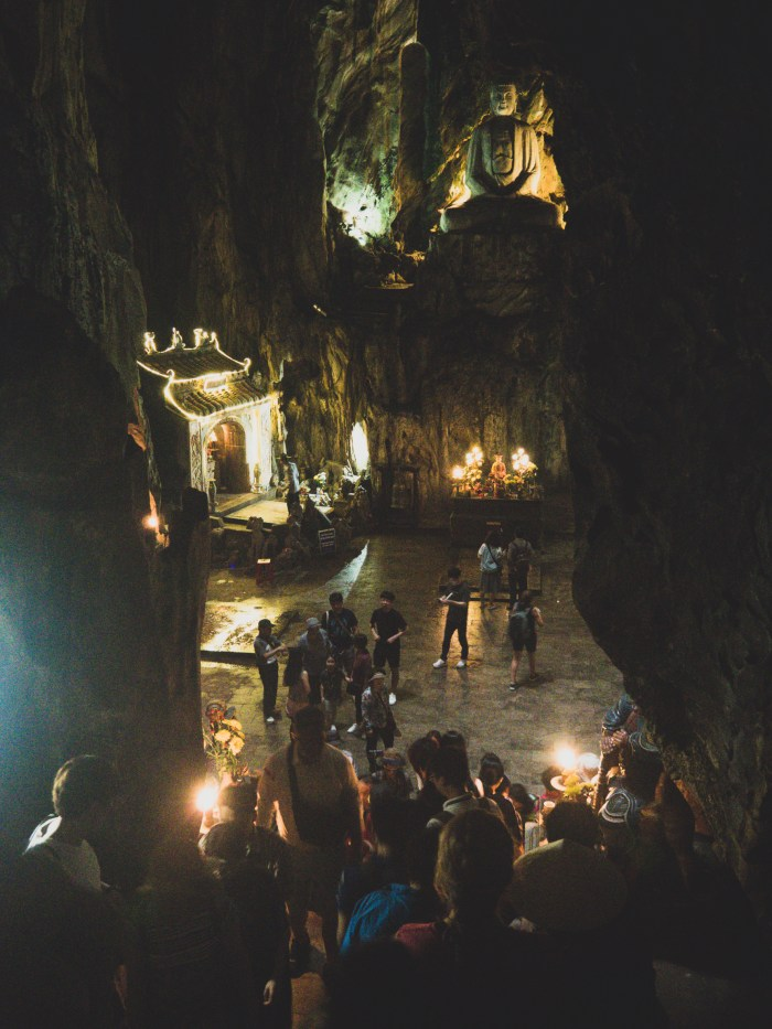 One of many caves in Marble Mountains