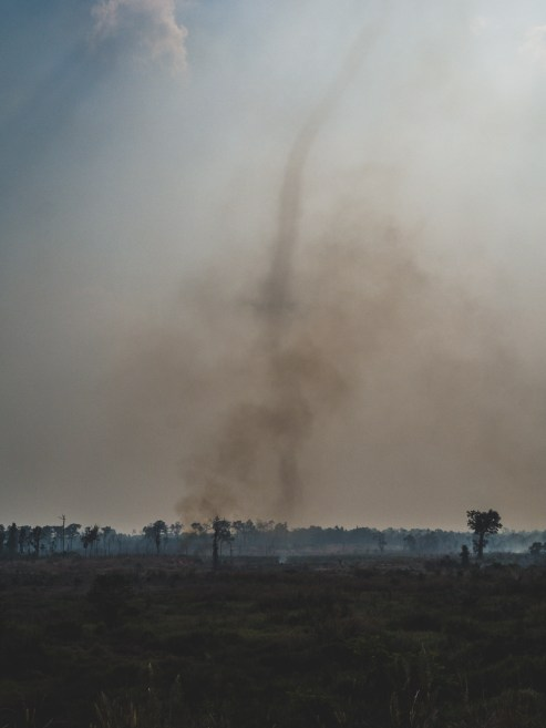 Dust, smoke and tornado