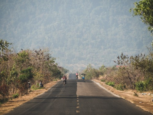 One of the cambodian national parks and still green hills