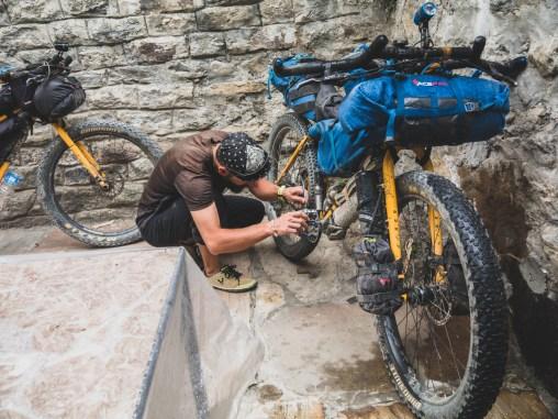 Bike maintainance. Tatopani, Nepal