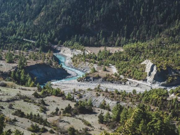 Řeka. Upper Pisang. Nepál