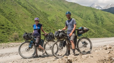 Bikepacking friends, Sophie and Nathan. Kaldamo Pass, Kyrgyzstan