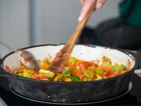 Langman cooking class: How to stir veges. Naryn, Kyrgyzstan