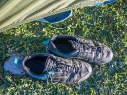 Frozen shoes. Tosor Pass Area, Kyrgyzstan