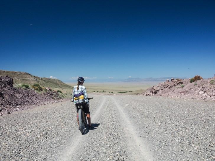 Turn off to a new road under consturction. Kegen Region, Kazakhstan