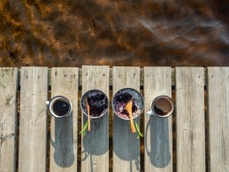Breakfast on a pier. Finland