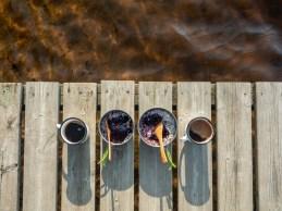 Breakfast on a pier. Finland