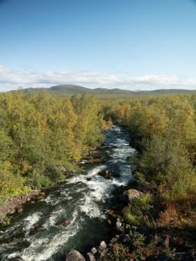 Řeka ve Švédském Laponsku. Kiruna, Švédsko