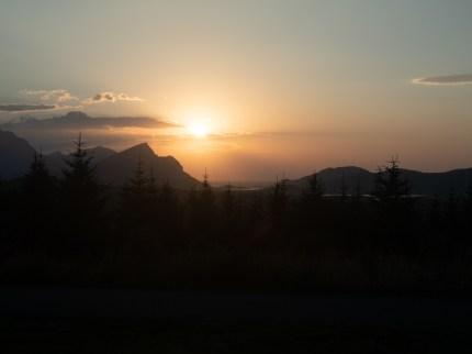 Sunset above Leknes. Leknes, Norway