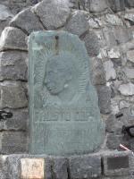 Coppi monument on top of the Stelvio