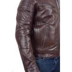 Mens Leather Cafe Racer Biker Jacket Ron Brown