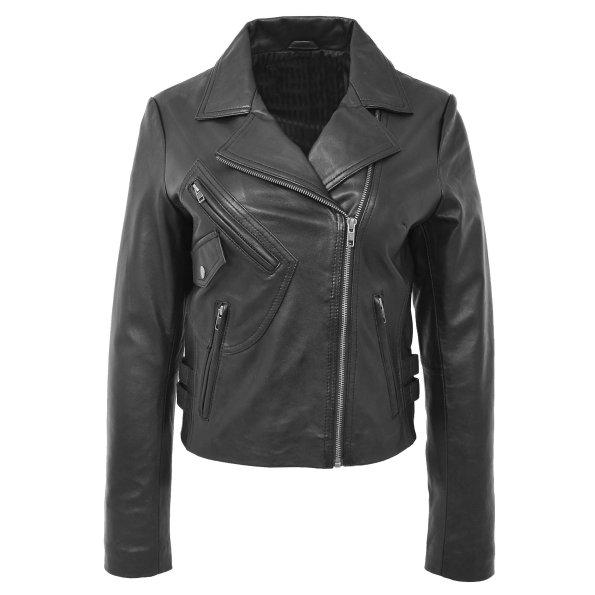Women's Casual Soft Leather Cross Zip Jacket