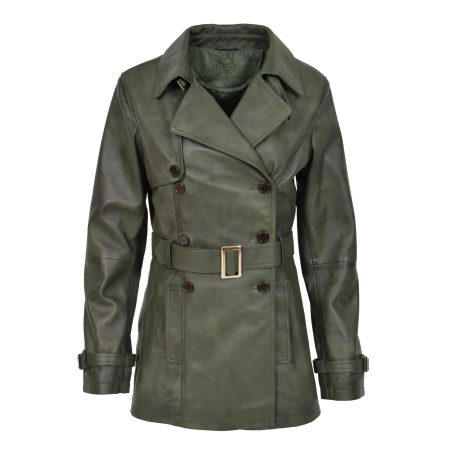 Women's Leather Double Breasted Trench Coat