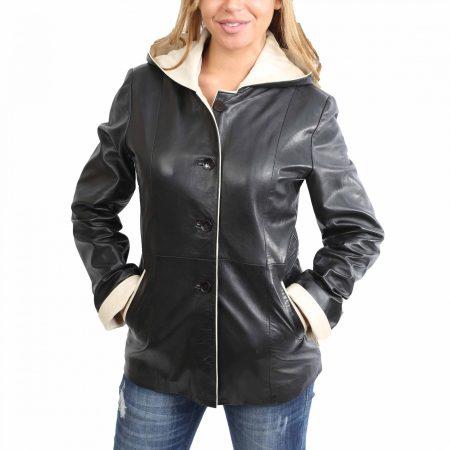 Women's Black Hooded Leather Jacket