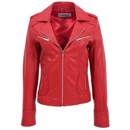 Womens Leather Fitted Biker Style Jacket Kim Red