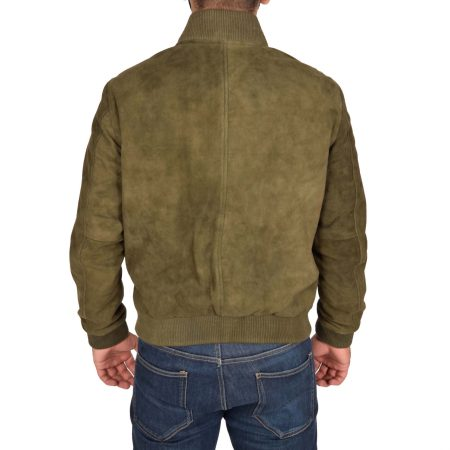 Men's Suede MA-1 Bomber Jacket Green