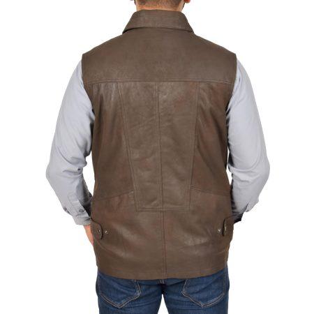 Men's Leather Multi Purpose Gilet Brown