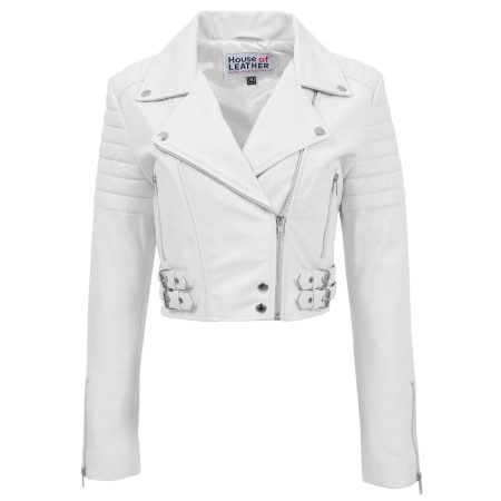 Womens Leather Cropped Biker Style Jacket Demi White