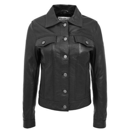 Women's Soft Leather Black Trucker Jacket