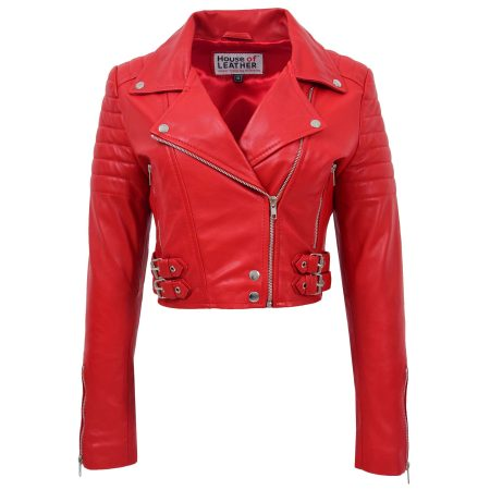 Womens Leather Cropped Biker Style Jacket Demi Red