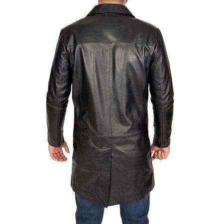 Men's Leather 3/4 Length Crombie Coat