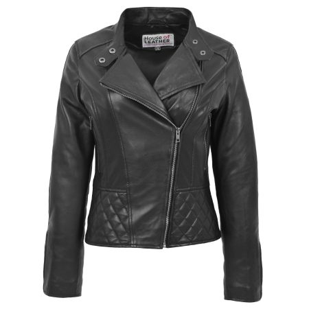 Women's Leather Stand-Up Collar Biker Jacket