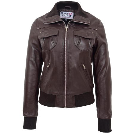 Women's Leather Bomber Jacket Brown