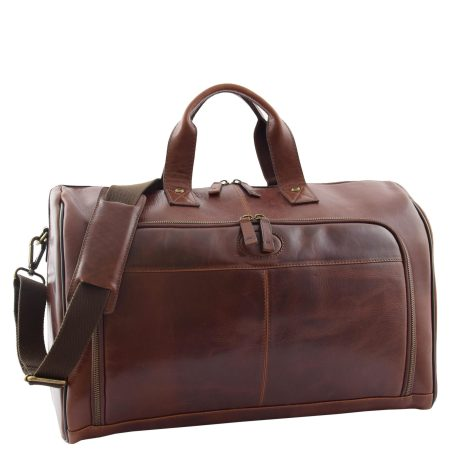 Travel Leather Holdall Overnight Bag Brown