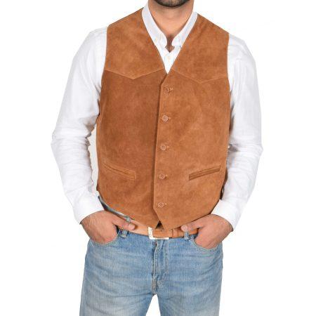 Men's Suede Button Fastening Waistcoat Tan