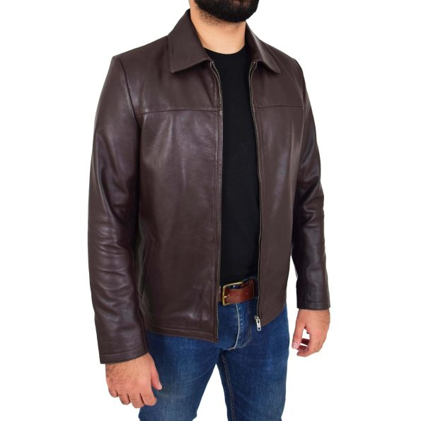 Mens Leather Zip Box Harrington Jacket James Brown