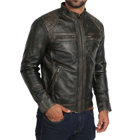 Mens Biker Leather Jacket Standing Collar Bowie Rub Off