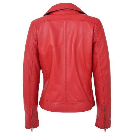 Womens Soft Leather Cross Zip Biker Jacket Lola Red