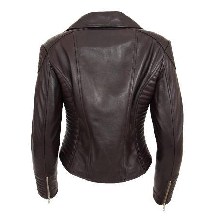 Womens Soft Leather Cross Zip Biker Jacket Anna Brown