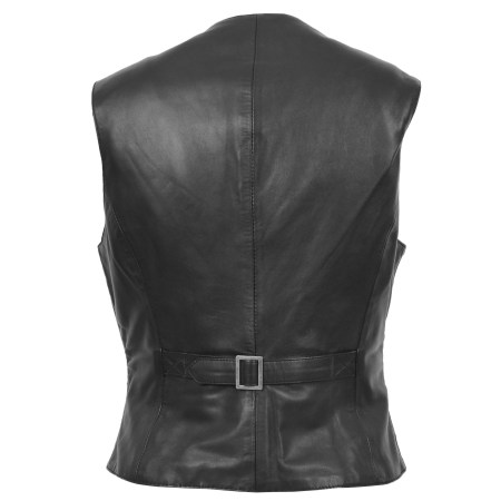 Women's Leather Classic Buttoned Waistcoat
