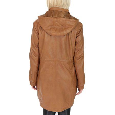 Women's 3/4 Length Leather Duffle Coat Tan