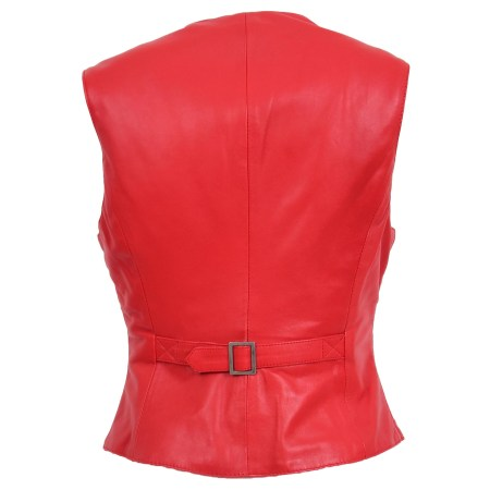 Women's Leather Classic Buttoned Waistcoat Red