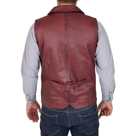 Mens Leather Buttoned Waistcoat Gilet Calvin Burgundy