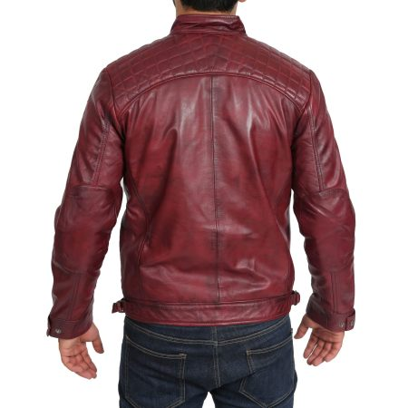 Mens Biker Leather Jacket Standing Collar Bowie Burgundy