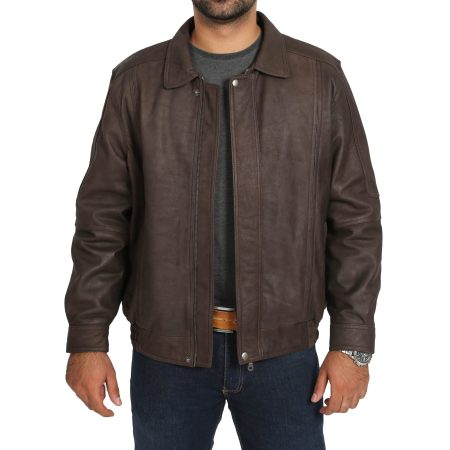 Men's Brown Classic Bomber Style Leather Jacket