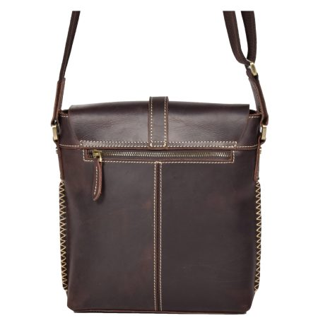 Casual Leather Cross Body Man Bag Brown
