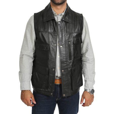 Men's Leather Multi Purpose Gilet Black