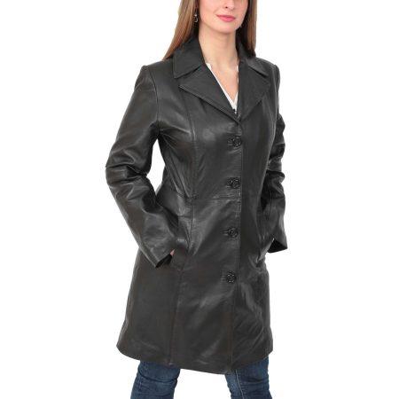 Women's 3/4 Length Soft Leather Classic Coat